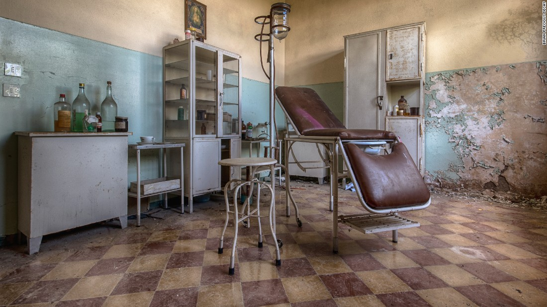 """A check-up room in a former """"children's colony"""" in Italy. The home took in poor children during the holidays."""