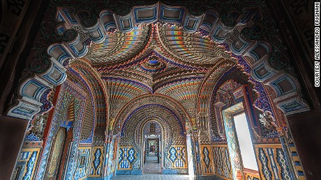 Castello de Sammezzano remains unused for almost two decades. Built in 1605, an eccentric nobleman, Ferdinando Panciatichi Ximenes of Aragon spent 40 years renovating it to Moorish fashion, starting in 1853.