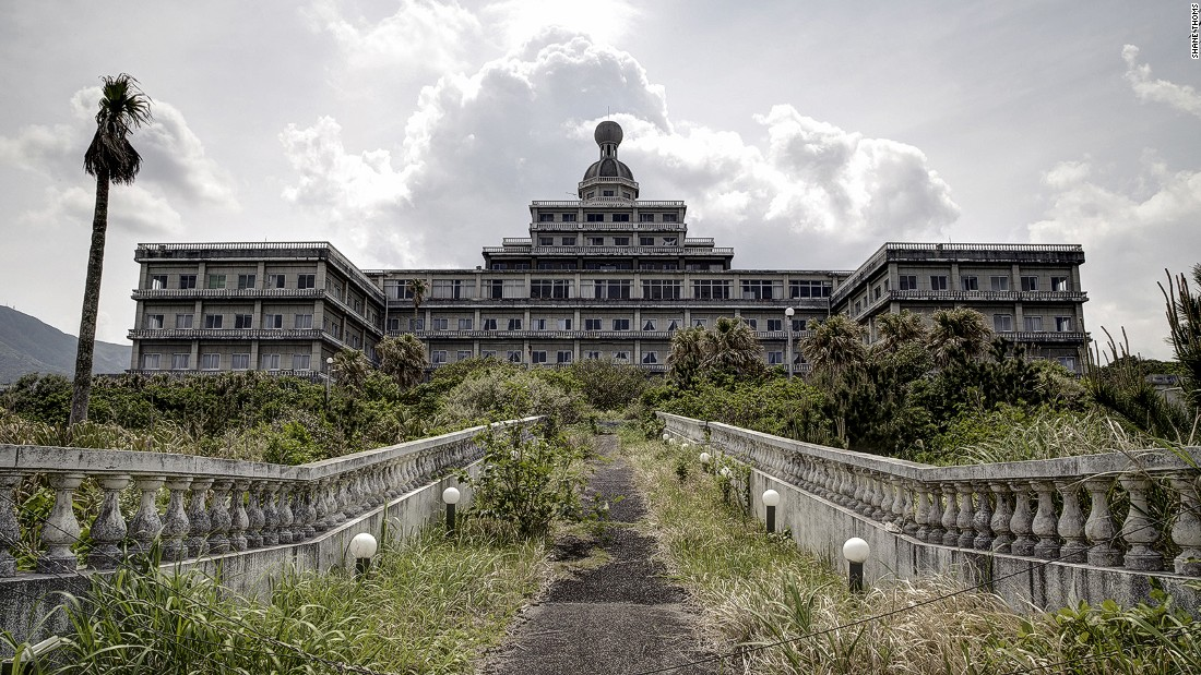 """Hachijo, an island once called the """"Hawaii of Japan"""" is home to the Oriental Resort hotel. Desolate for over a decade, the hotel was closed in 2005 after failing to attract enough guests to warrant employing the staff needed to upkeep it."""