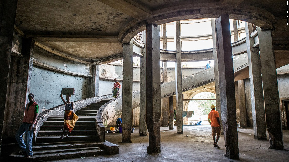 """Overlooking the Indian Ocean, Mozambique's Grande Hotel is home to around 3,500 squatters since shutting in 1963. Opened in 1954, """"the pride of Africa"""" never attracted the amount of guests originally envisioned."""