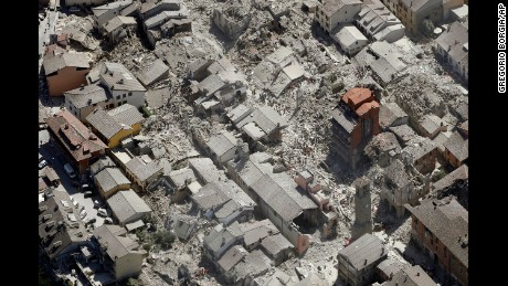 Amatrice, Italy, is seen on Wednesday, August 24, after a magnitude 6 quake struck.