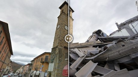 A clock tower in the center of the mountainous town of Amatrice is frozen at 3:36 a.m. -- the time the earthquake struck.