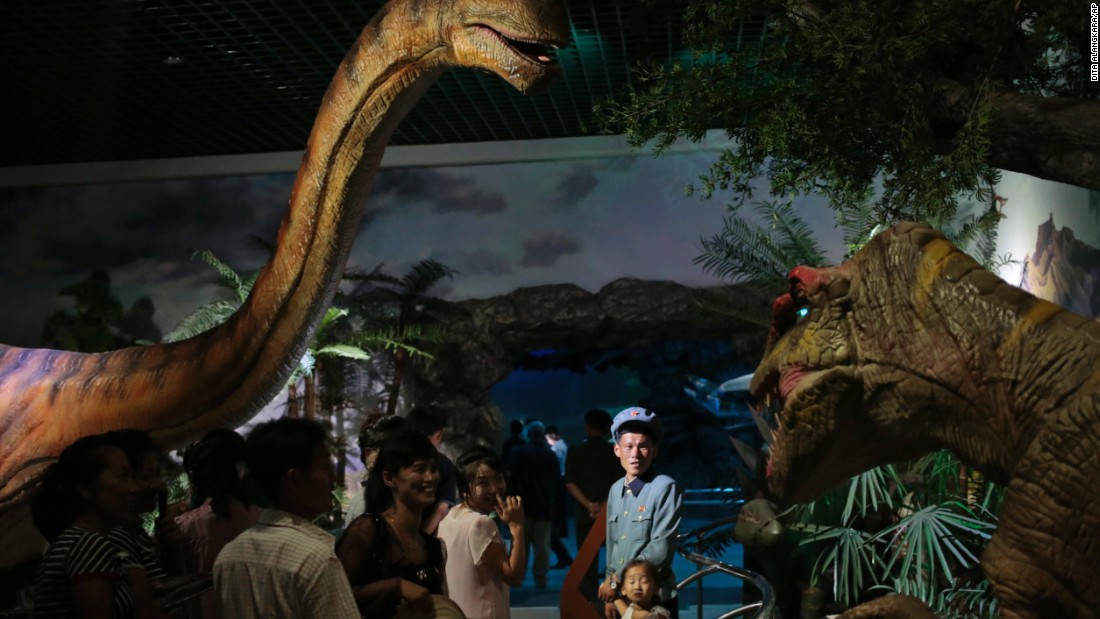 Models of dinosaurs are one of the features at the Natural History Museum, part of the newly opened Pyongyang Central Zoo.