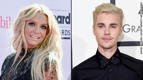 Britney Spears and Justin Bieber