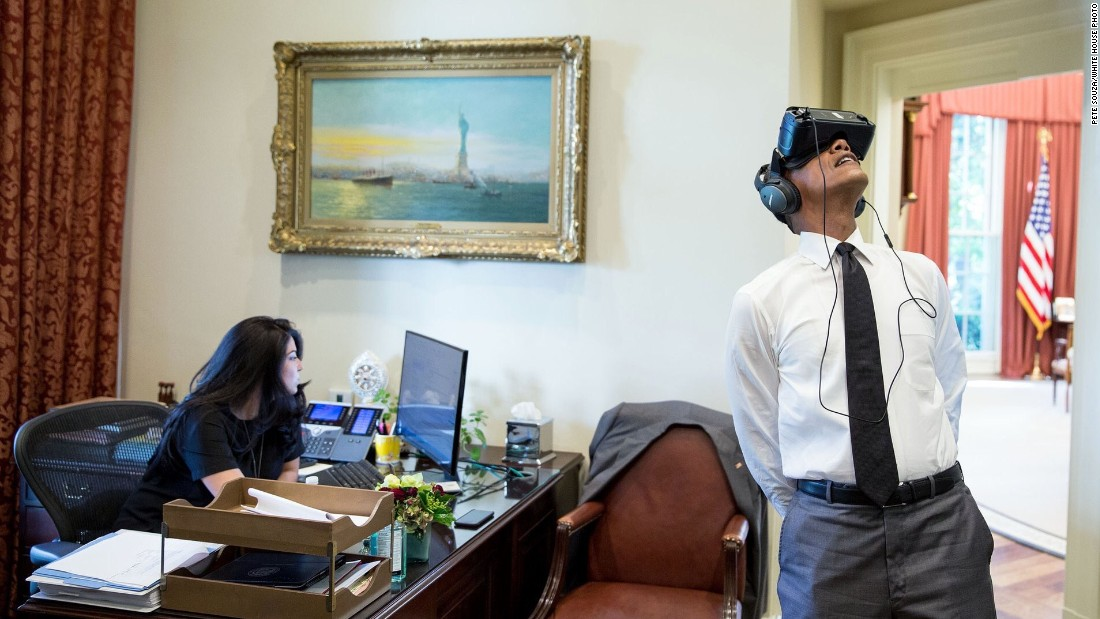 """President Barack Obama <a href=""""https://www.whitehouse.gov/blog/2016/08/25/watch-join-president-obama-virtual-reality-tour-yosemite"""" target=""""_blank"""">watches a virtual reality film</a>, captured during his trip to Yosemite National Park earlier this summer, at the White House on Wednesday, August 24. The National Park Service celebrated its 100th birthday on Thursday, August 25. <a href=""""http://www.cnn.com/2016/08/24/travel/gallery/tbt-roger-minick-national-park-service/index.html"""" target=""""_blank"""">See national park visitors since 1980</a>"""