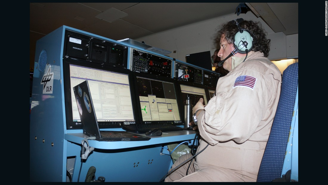 SOFIA Mission Director Randy Grashuis checks the telescope's parameters.