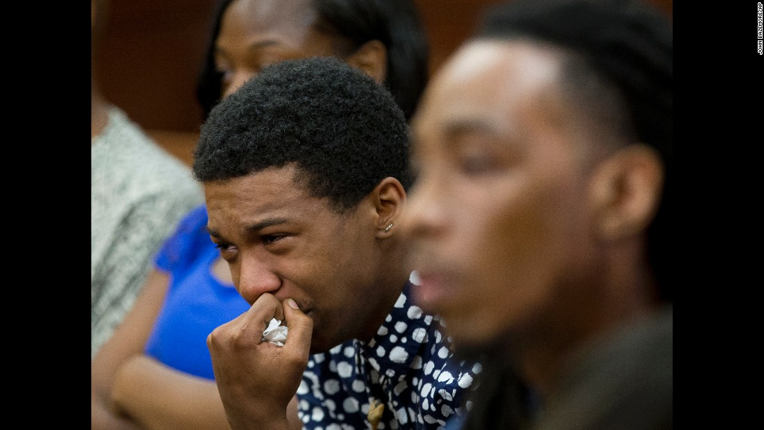 """Marquez Tolbert cries during courtroom testimony from Martin Blackwell in Atlanta on Tuesday, August 23. Blackwell was <a href=""""http://www.cnn.com/2016/08/25/health/boiling-water-same-sex-couple-trnd/"""" target=""""_blank"""">sentenced to 40 years in prison</a> for throwing boiling water on Tolbert and his partner, Anthony Gooden, as they were asleep in their apartment."""