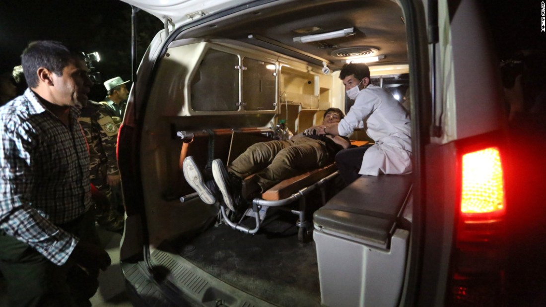 """A wounded man receives medical attention after <a href=""""http://www.cnn.com/2016/08/25/asia/kabul-american-university-attack/"""" target=""""_blank"""">an attack at the American University of Afghanistan</a> in Kabul on Wednesday, August 24. Around 750 students were on campus at the time of the attack, which killed 13 people and injured 30."""