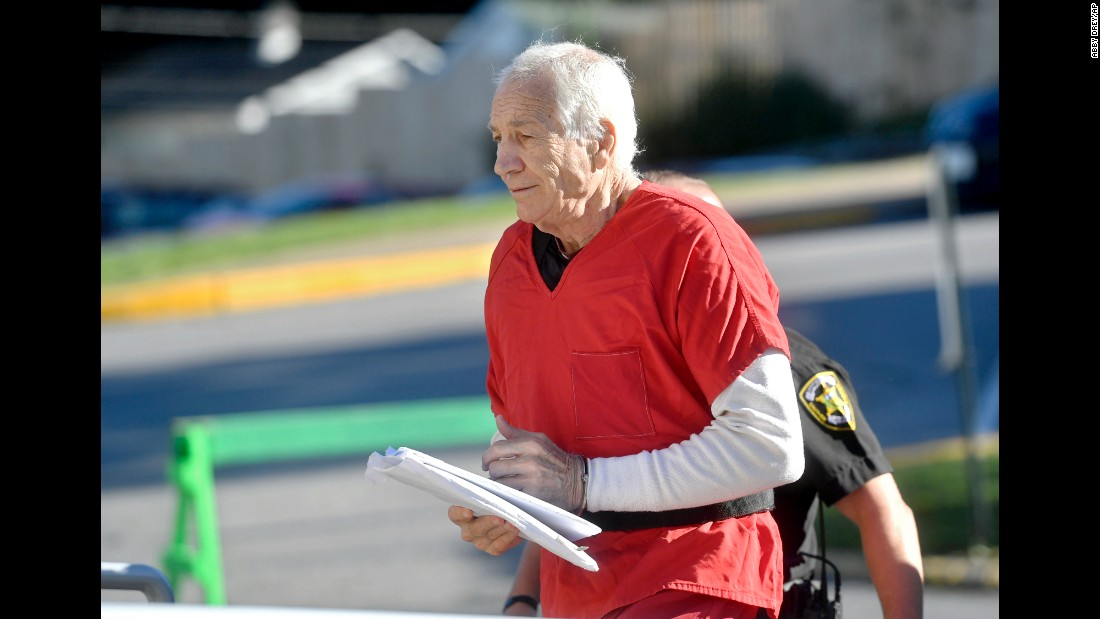 """Jerry Sandusky arrives at the Centre County Courthouse in Bellefonte, Pennsylvania, on Monday, August 22. The former Penn State assistant football coach, who in 2012 was found guilty on counts of sexual abuse and sentenced to at least 30 years in prison, <a href=""""http://www.cnn.com/2016/08/12/us/pennsylvanias-sandusky-appeal/"""" target=""""_blank"""">is seeking to overturn his conviction</a>."""