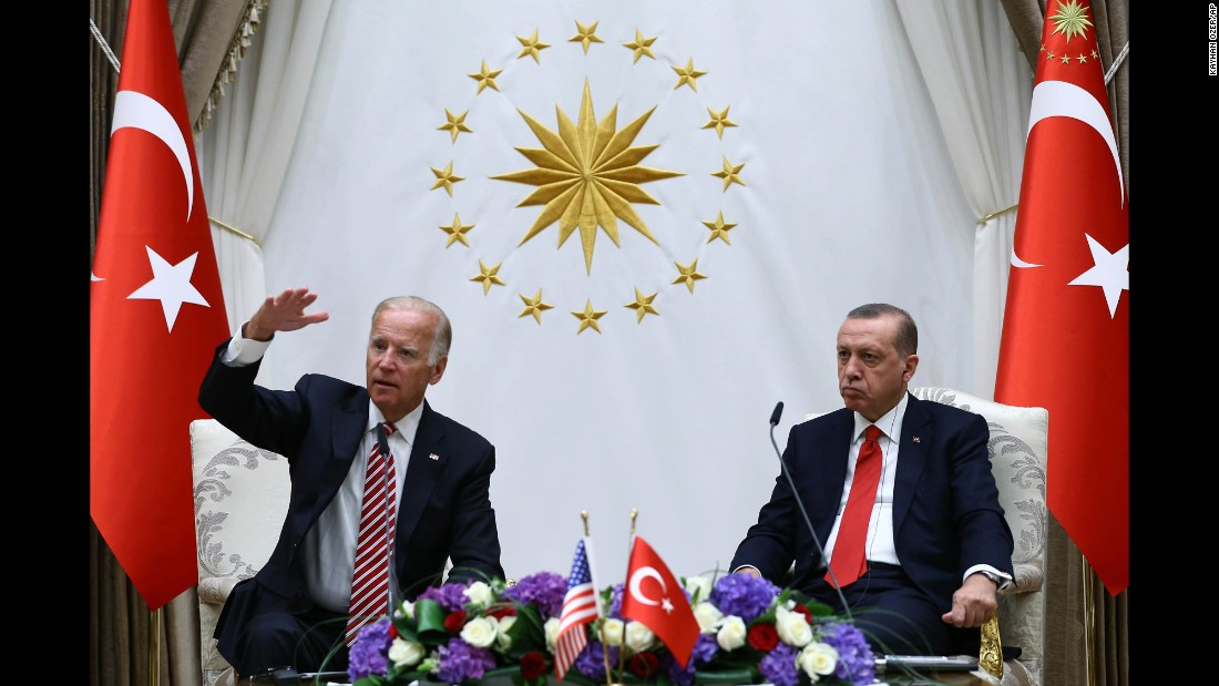 """US Vice President Joe Biden, left, and President Recep Tayyip Erdogan of Turkey speak to the media after a meeting in Ankara, Turkey, on Wednesday, August 24. Their meeting comes less than two months after a <a href=""""http://www.cnn.com/2016/08/24/politics/joe-biden-turkey-coup-us-support/"""" target=""""_blank"""">failed military coup in Turkey</a>, a coup the Turkish government blames on a 75-year-old Muslim cleric living in Pennsylvania."""