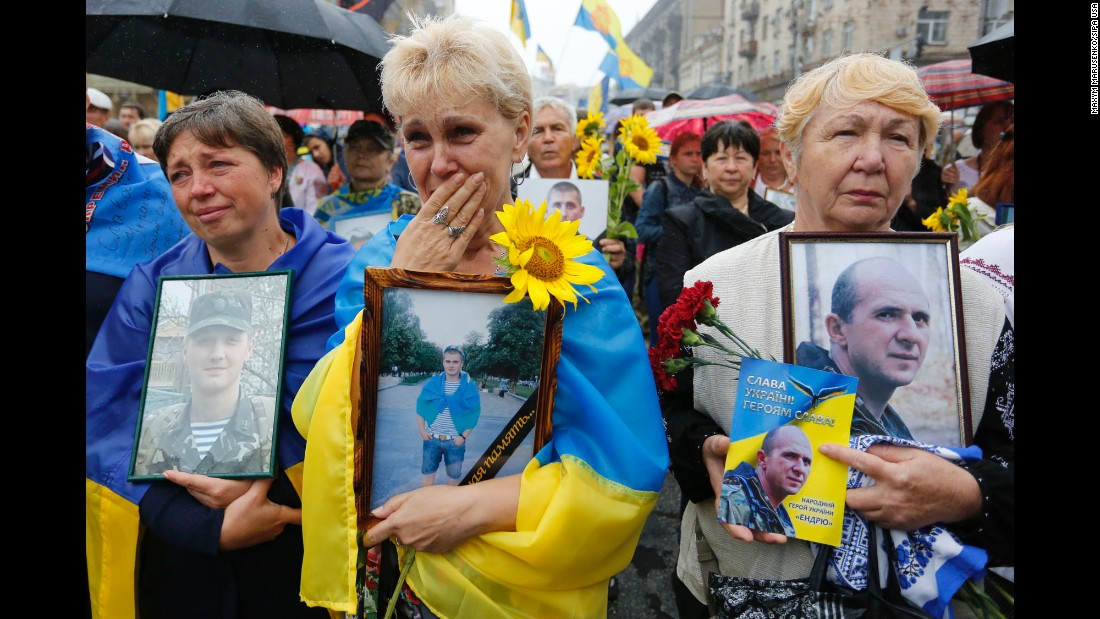 """People march on Independence Day in central Kiev, Ukraine, on Wednesday, August 24. The country marked it's <a href=""""http://www.cnn.com/2016/08/24/world/ukraine-amanpour-poroshenko/"""" target=""""_blank"""">25th anniversary of independence</a> from the former Soviet Union."""