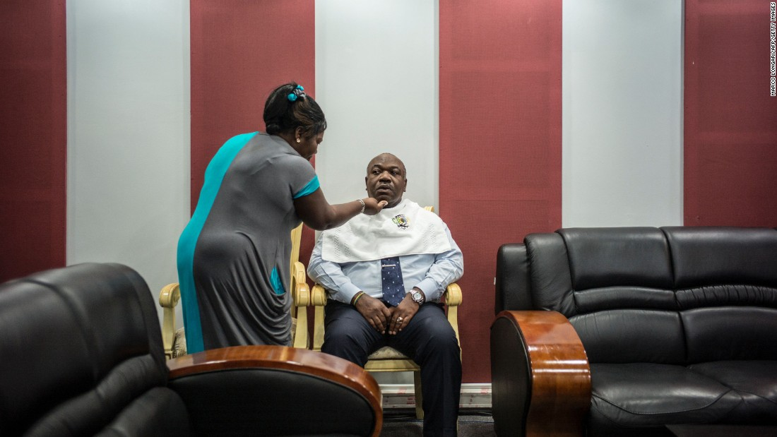 Ali Bongo Ondimba, the incumbent Gabonese president, prepares for a televised electoral debate in Libreville, Gabon, on Wednesday, August 24.