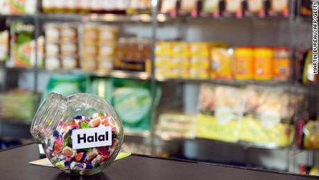 Halal candies are displayed on April 10, 2013 at the MDD Expo (distributor brands expo) of major supermarket chain brands in Paris. The fair presents food made and sold under the names of major supermarket outlets, such as Casino, Carrefour, Cora, Monoprix or Super U. AFP PHOTO / MARTIN BUREAU (Photo credit should read MARTIN BUREAU/AFP/Getty Images)
