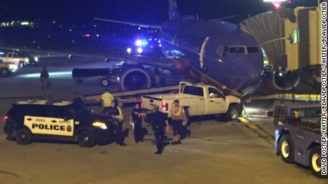 A car was driven into a airplane at Eppley Airfield in Omaha,Nebraska Thursday evening. The car struck the front of the plane prior to boarding, according to sources.