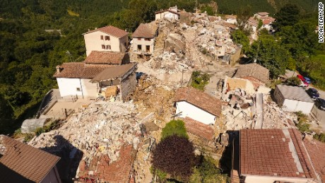 Aerial view of the village of Saletta in central Italy, Friday, August 26, 2016, where a strong quake hit early Wednesday. Strong aftershocks rattled residents and rescue crews alike Friday as hopes began to dim that firefighters would find any more survivors as donations began pouring into the area and Italy again anguished over its failure to protect ancient towns and modern cities from the country's highly seismic terrain.