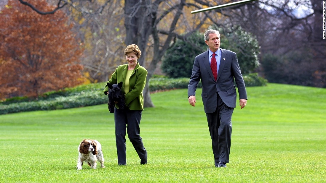 President George W. Bush and first lady Laura Bush walk with their dogs, Barney and Spot, on the South Lawn on December 2, 2001.