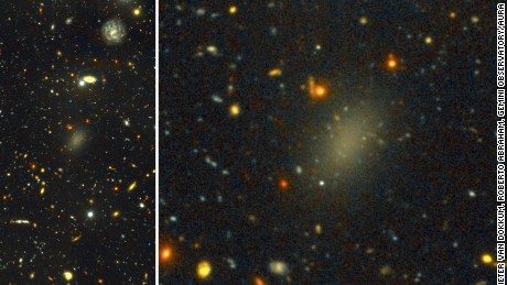 The dark galaxy Dragonfly 44. The image on the left is a wide view of the galaxy taken with the Gemini North telescope using the Gemini Multi-Object Spectrograph (GMOS) as part of a Fast Turnaround program. The close-up on the right is from the same very deep image, revealing the large, elongated galaxy, and halo of spherical clusters of stars around the galaxy's core, similar to the halo that surrounds our Milky Way Galaxy. Dragonfly 44 is very faint for its mass, and consists almost entirely of Dark Matter.