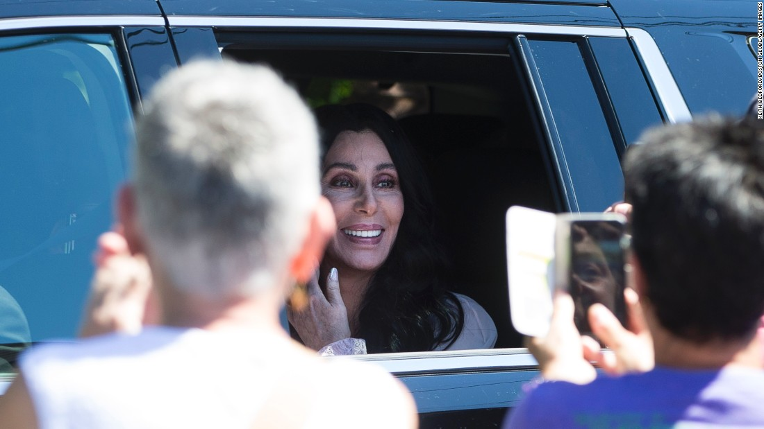 "Singer Cher arrives at a <a href=""http://www.cnn.com/2016/08/18/politics/hillary-clinton-cher-jimmy-buffett-leonardo-dicaprio/"" target=""_blank"">fundraiser for Hillary Clinton</a> in Provincetown, Massachusetts, on Sunday, August 21."