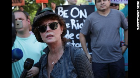 "WASHINGTON, DC - AUGUST 24:  Actress Susan Sarandon speaks to members of the media during a rally on Dakota Access Pipeline August 24, 2016 outside U.S. District Court in Washington, DC. Activists held a rally in support of a lawsuit against the Army Corps of Engineers ""to protect water and land from the Dakota Access Pipeline,"" and to call for ""a full halt to all construction activities and repeal of all pipeline permits until formal tribal consultation and environmental review are conducted.""  (Photo by Alex Wong/Getty Images)"
