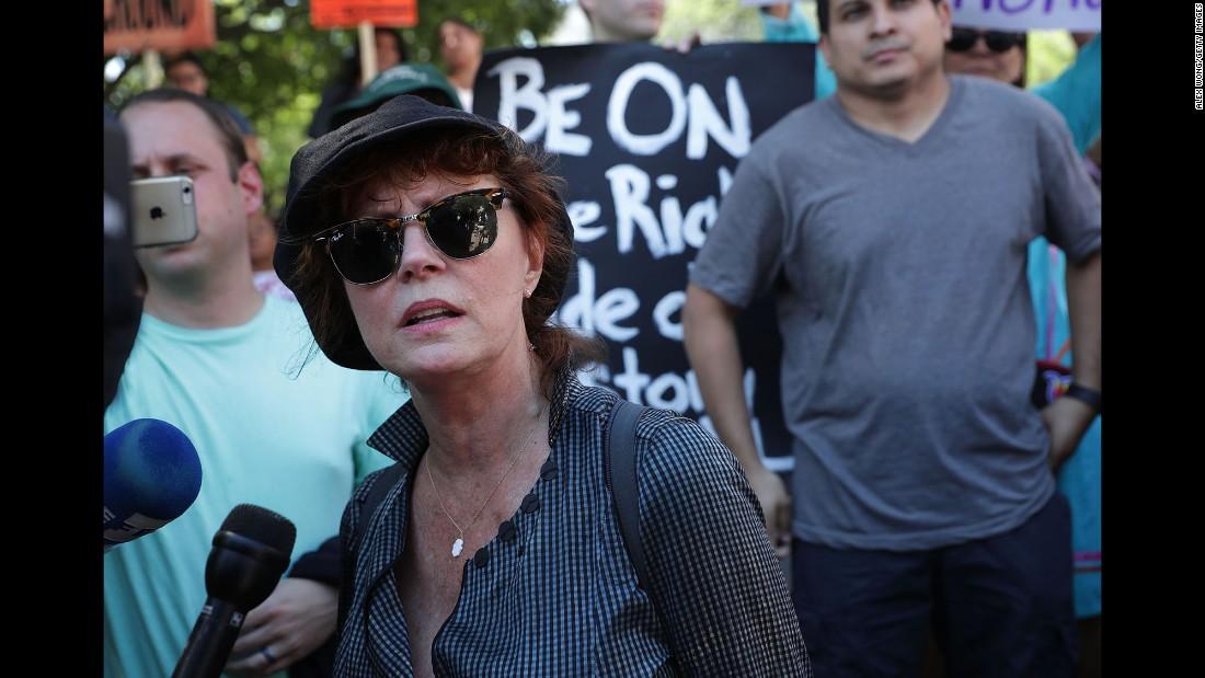 "Actress Susan Sarandon speaks to the media in Washington during a <a href=""http://www.cnn.com/2016/08/25/politics/shailene-woodley-bernie-sanders-dakota-access-pipeline/"" target=""_blank"">rally against the Dakota Access Pipeline</a> on Wednesday, August 24."
