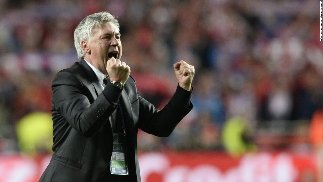 Like all Real coaches, Ancelotti had been brought in to deliver success in the Champions League -- but his target was 'La Decima', the much sought-after tenth success in the competition. Real had failed to win the title for over a decade when Ancelotti was appointed. But in his first season, the Italian delivered the title with defeat of Atletico Madrid -- prompting this reaction at the final whistle from the Italian.