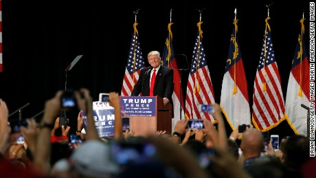 Republican presidential candidate Donald Trump speaks to supporters at a rally on August 18, 2016 at the Charlotte Convention Center in Charlotte, North Carolina.