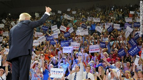 Donald Trump gives a thumbs up to supporters at a campaign rally August 9, 2016, in  Wilmington, North Carolina.