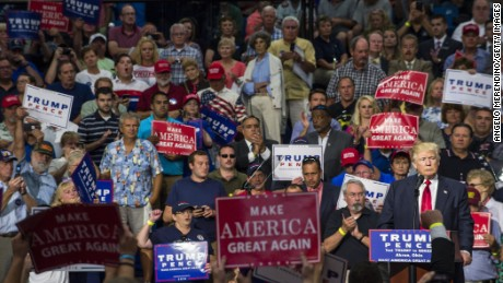 Donald Trump addresses supporters August 22, 2016, in Akron, Ohio.
