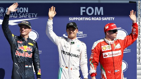 SPA, BELGIUM - AUGUST 27:  Top three qualifiers, Nico Rosberg of Germany and Mercedes GP, Max Verstappen of Netherlands and Red Bull Racing and Kimi Raikkonen of Finland and Ferrari in parc ferme during qualifying for the Formula One Grand Prix of Belgium at Circuit de Spa-Francorchamps on August 27, 2016 in Spa, Belgium.  (Photo by Mark Thompson/Getty Images)