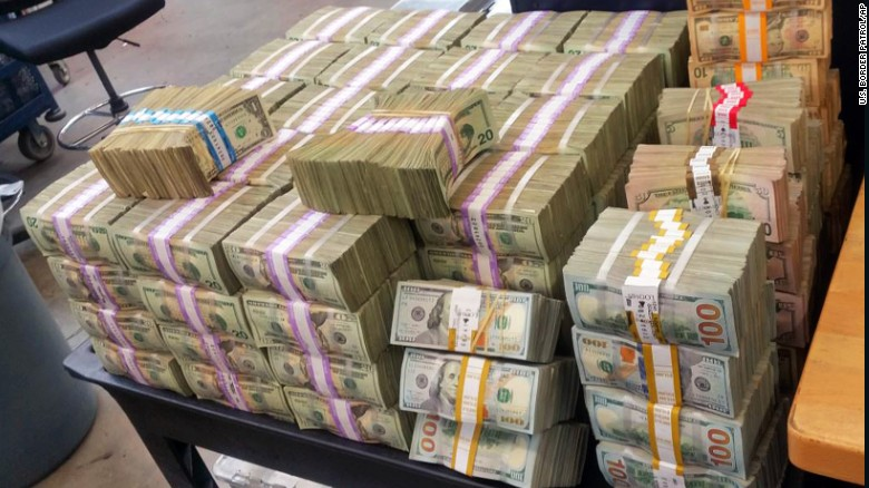 The the U.S. Border Patrol seized more than $3 million in cash that it says two men were trying to smuggle into Mexico from California this week.