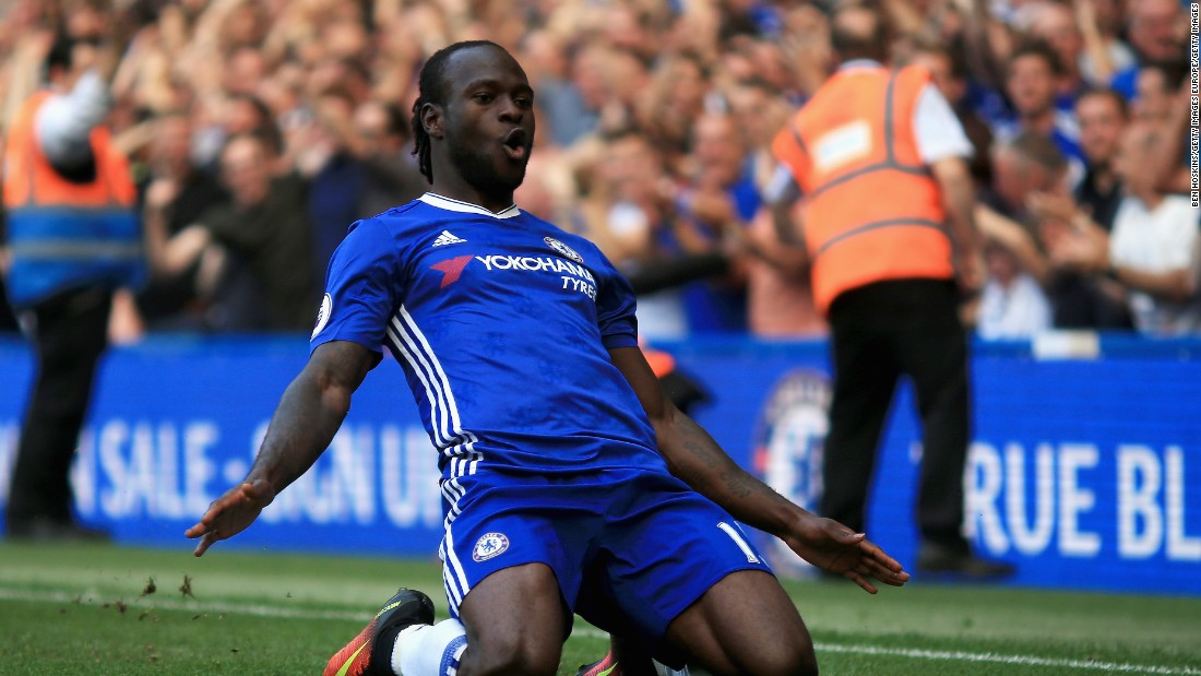 Victor Moses celebrates scoring Chelsea's third goal against Burnley.