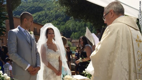 A took place outside the San Giovanni church in Acquasanta Terme, Italy because the church was damaged in the earthquake.