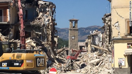 The community in Amatrice are worried that a bell tower built in the 1400s will be demolished.