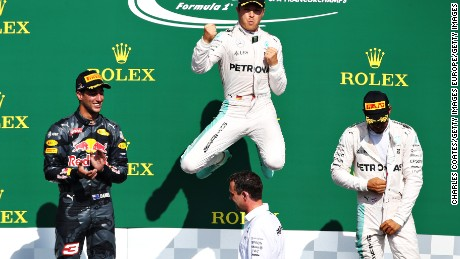 SPA, BELGIUM - AUGUST 28: Nico Rosberg of Gecrmany and Mercedes GP celebrates his win on the podium during the Formula One Grand Prix of Belgium at Circuit de Spa-Francorchamps on August 28, 2016 in Spa, Belgium  (Photo by Charles Coates/Getty Images)