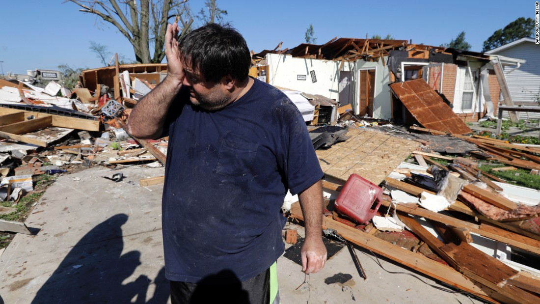 """Mark Martinez wipes his face after his home in Kokomo, Indiana, <a href=""""http://www.cnn.com/2016/08/24/us/indiana-tornadoes/"""" target=""""_blank"""">was hit by a tornado</a> on Wednesday, August 24."""