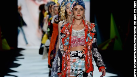 NEW YORK, NY - SEPTEMBER 10:  A model walks the runway at the Desigual fashion show during Spring 2016 New York Fashion Week: The Shows at The Arc, Skylight at Moynihan Station on September 10, 2015 in New York City.  (Photo by Frazer Harrison/Getty Images for NYFW: The Shows)