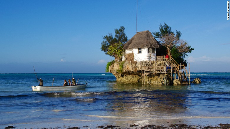 The Rock restaurant lies off Michanvi Pingwe beach on the main island's southeast coast.