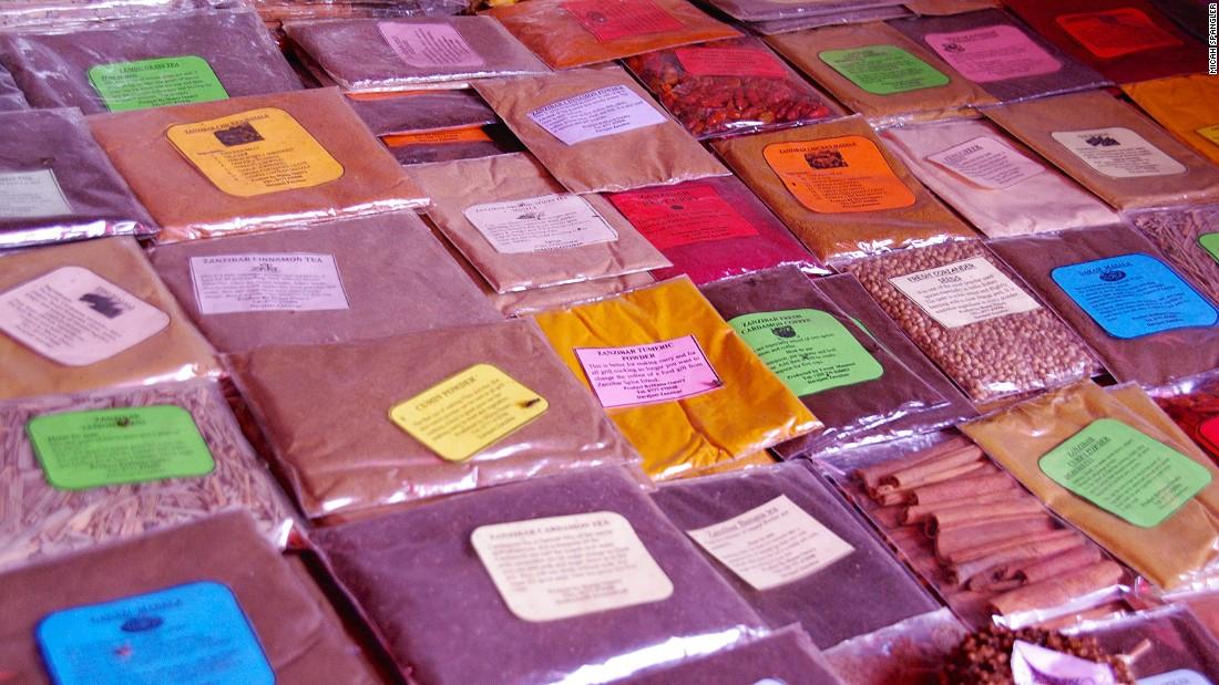 Spice for sale in the Old Market of Stone Town, Zanzibar City's UNESCO-recognized historic quarter.