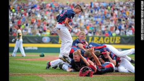 Aug 28, 2016; Williamsport, PA, USA; Mid-Atlantic Region players celebrate after beating the Asia-Pacific Region 2-1 during the championship game of the 2016 Little League World Series at Howard J. Lamade Stadium. Mandatory Credit: Evan Habeeb-USA TODAY Sports