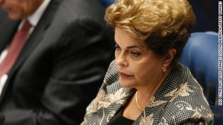 BRASILIA, BRAZIL - AUGUST 29:  Suspended Brazilian President Dilma Rousseff attends her impeachment trial on August 29, 2016 in Brasilia, Brasil. Senators will vote in the coming days whether to impeach and permanently remove Rousseff from office.. (Photo by Igo Estrela/Getty Images)