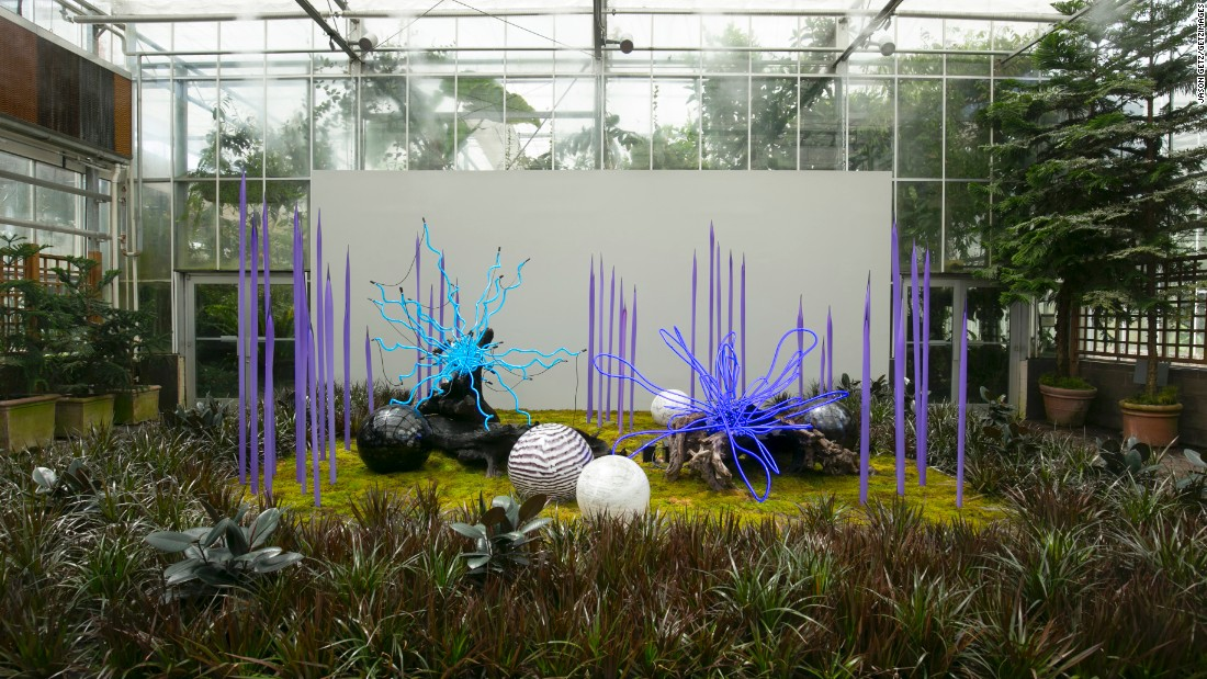 """""""Sapphire Neon with Neodymium Reeds, Floats and Logs"""" has an otherworldly look."""