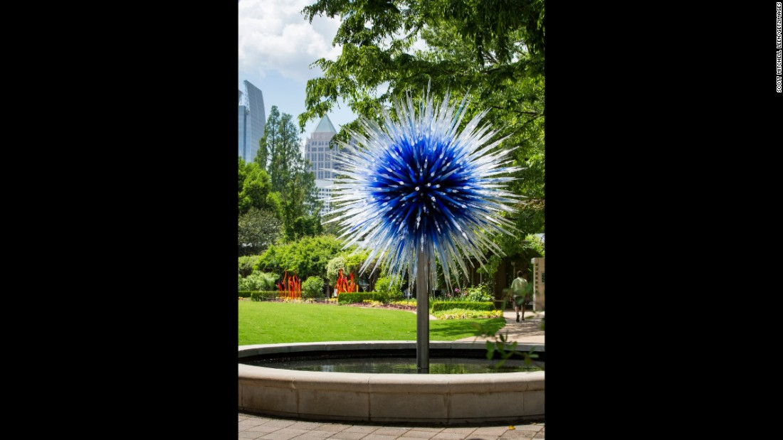 """""""Sapphire Star,"""" which is situated in Howell Fountain, welcomes visitors to the Great Lawn outside Fuqua Conservatory."""