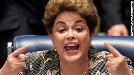 Suspended Brazilian President Dilma Rousseff gestures during her testimony in her impeachment trial at the National Congress  in Brasilia on August 29, 2016.