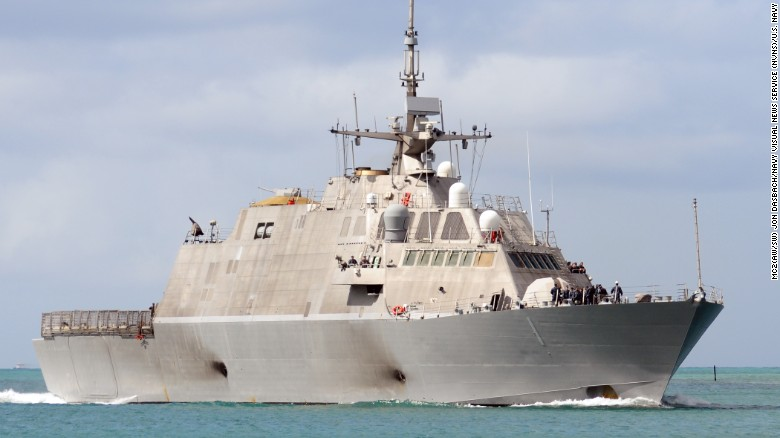 The littoral combat ship USS Freedom (LCS 1) returns to Joint Base Pearl Harbor-Hickam in Hawaii in 2010.