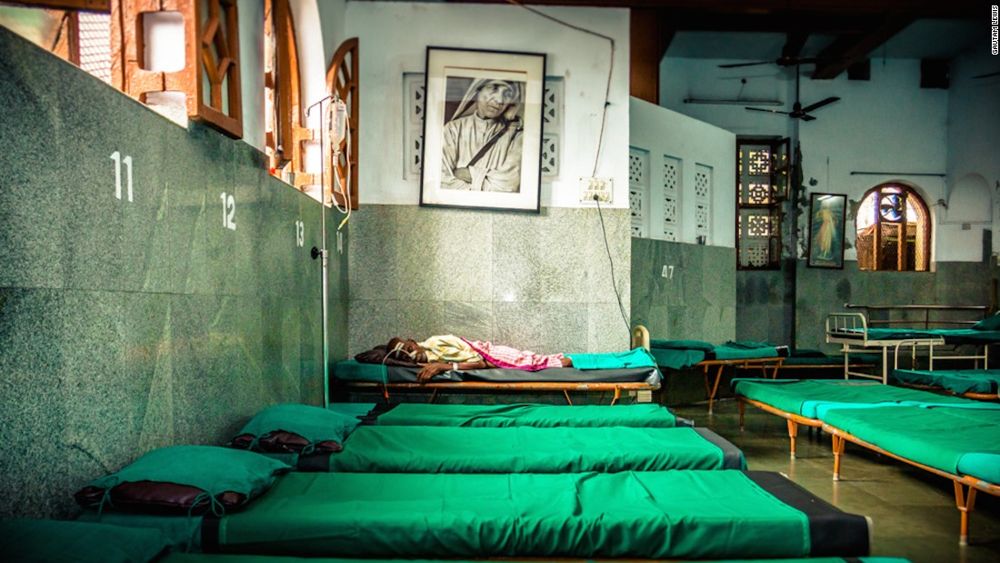 """The Home for the Dying and Destitute was the first home Mother Teresa set up when she came to Kolkata. """"I've never taken a photograph of a dying person before,"""" says Gautam. """"It's something I'll never forget."""""""