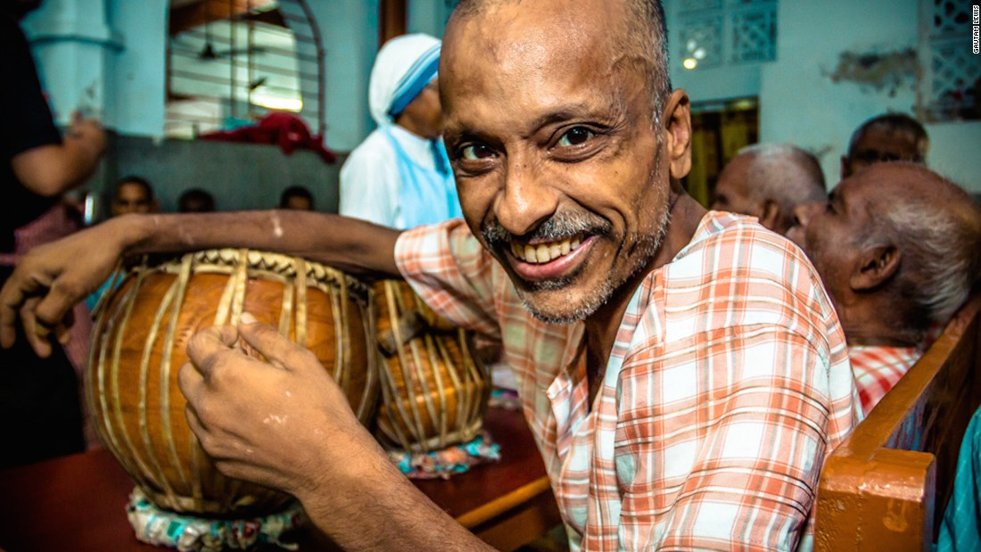 """A tabla player is pictured at the Home for the Dying and the Destitute. """"Even though he was in a place where he was being provided end of life care, he was still happy and musical,"""" says Gautam.""""Where there is joy, there is life -- one of the reasons Kolkata is also called the 'City of Joy.'"""""""