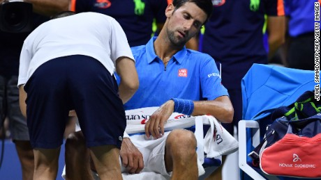 Novak Djokovic of Serbia reacts during during his 2016 US Open Men's Singles match against Jerzy Janowicz of Poland at the USTA Billie Jean King National Tennis Center in New York on August 29, 2016. / AFP / Jewel SAMAD        (Photo credit should read JEWEL SAMAD/AFP/Getty Images)