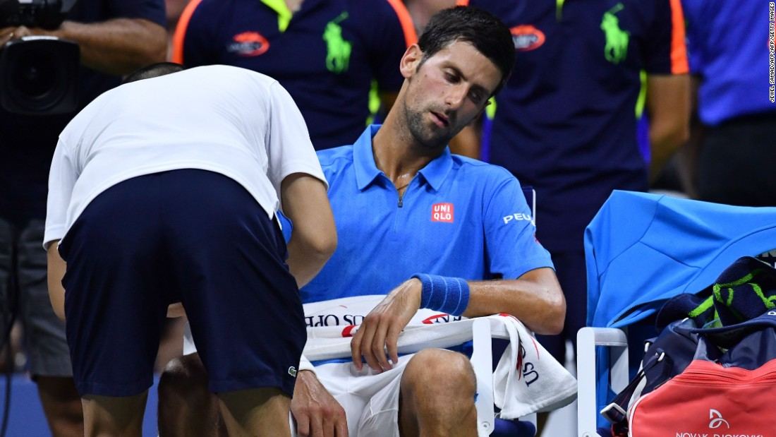 """The Serb eventually went on to triumph 6-3 5-7 6-2 6-1 to keep his bid for a third US Open title intact. Asked about fitness, Djokovic was buoyant about his prospects, telling reporters: """"Hopefully as the tournament progresses, I'll reach my peak."""""""