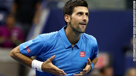 NEW YORK, NY - AUGUST 29:  Novak Djokovic of Serbia & Montenegro celebrates defeating Jerzy Janowicz of Poland during his first round Men's Singles match on Day One of the 2016 US Open at the USTA Billie Jean King National Tennis Center on August 29, 2016 in the Flushing neighborhood of the Queens borough of New York City.  (Photo by Al Bello/Getty Images)