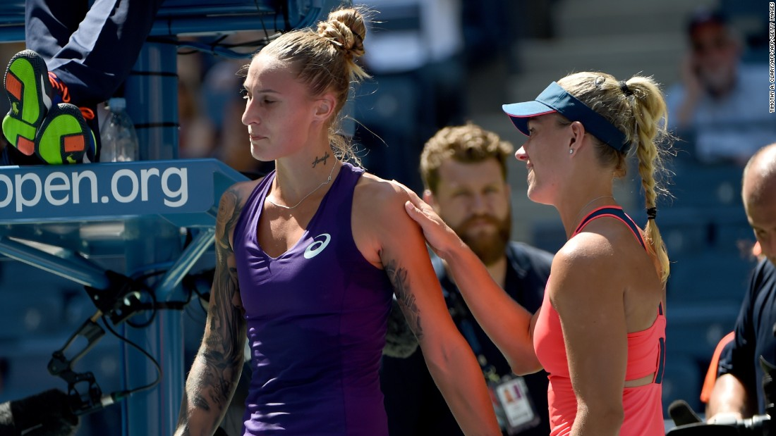 The German second seed started her campaign at Flushing Meadows with a comfortable win against Polona Hercog, advancing to the second round without dropping a game after the Slovenian was forced to retire in the second set.